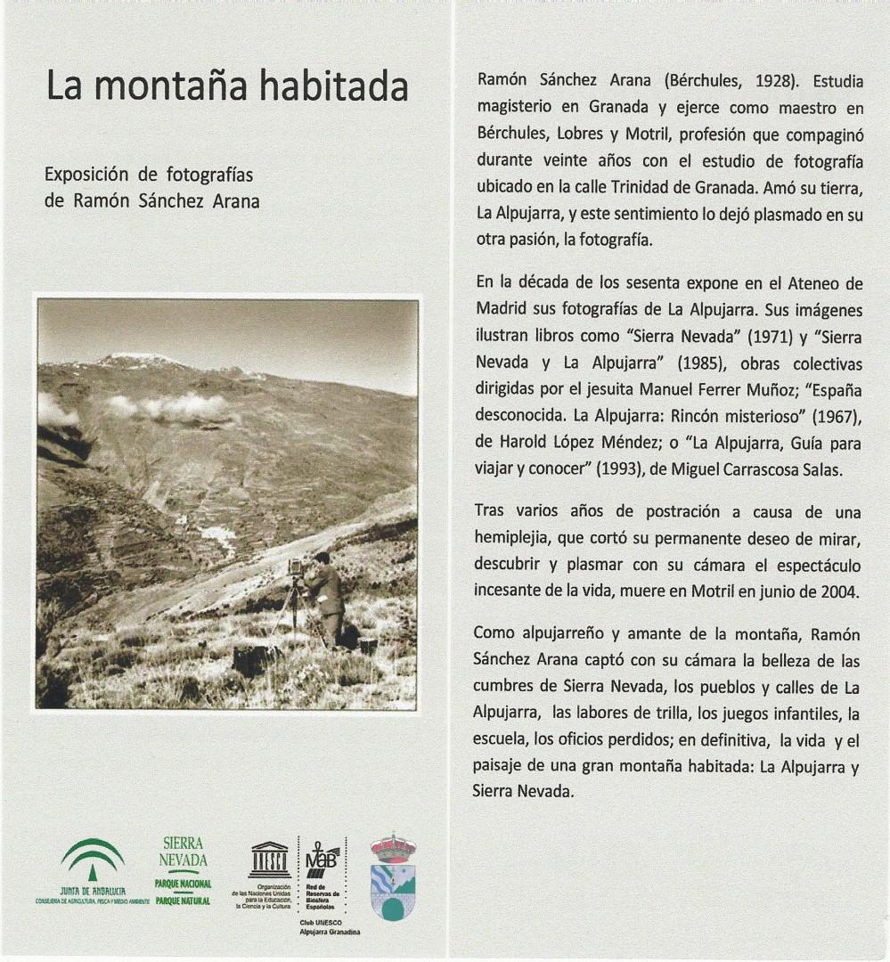Mecina Bombarón acoge una exposición de fotografías de Ramón Sánchez Arana hasta el 30 de septiembre