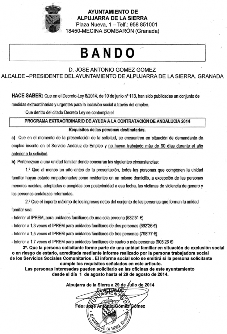 Programa Extraordinario de Ayuda a la Cóntratación de Andalucía 2014