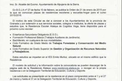 Oferta de plazas y estudios en la Residencia Escolar de Cogollos Vega