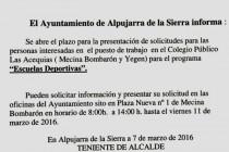 Abierto plazo para puesto de trabajo en el colegio público Las Acequias