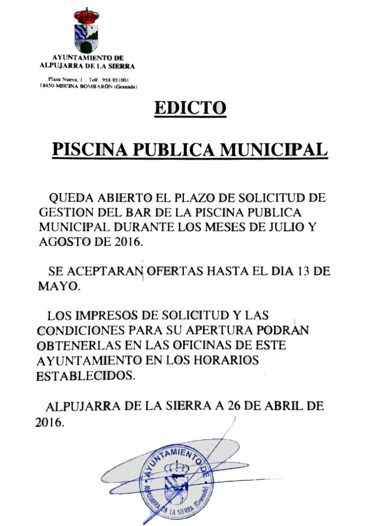Edicto Piscina Pública Municipal 2016