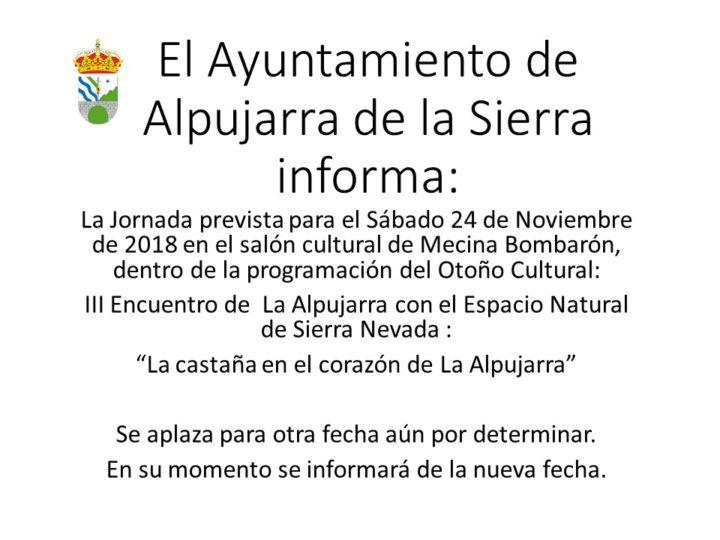 Se aplaza el 3er encuentro de la Alpujarra con el Espacio Natural de Sierra Nevada