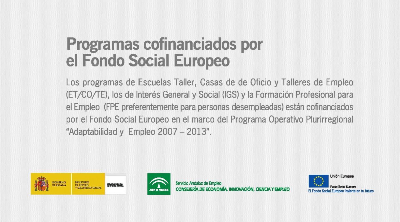 Programas cofinanciados por el Fondo Social Europeo