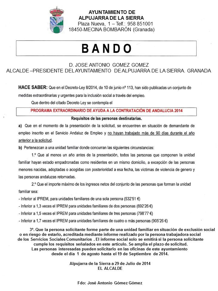 BANDO AYUDA A LA CONTRATACION 2014 ampliacion de plazo