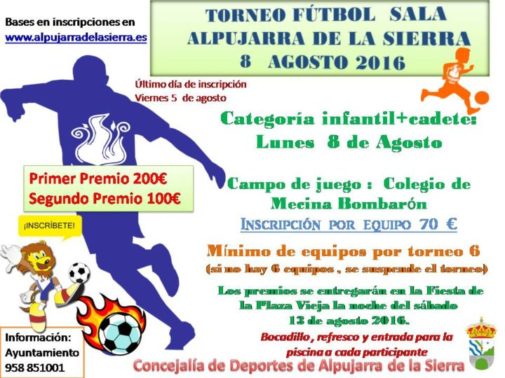 cartel torneo futbol sala 2016 CADETE INFANTIL 8 agosto