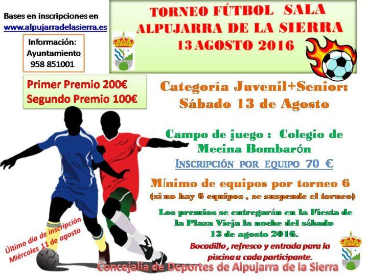 cartel torneo futbol sala 2016 juvenil +senior 13 agosto
